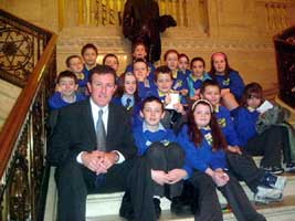 Conor Murphy with a group of Newry schoolchildren visiting Stormont