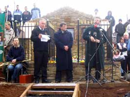 Gerry Adams addresses a commemoration in Strabane at the weekend