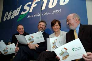 Mitchel McLaughlin, Gerry Adams, Caitríona Ruane and Caoimhghín Ó Caoláin at the launch of the Green Paper campaign