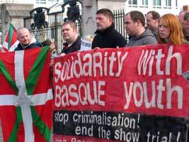 A solidarity picket in Belfast, just one of many across Ireland and Europe last Saturday