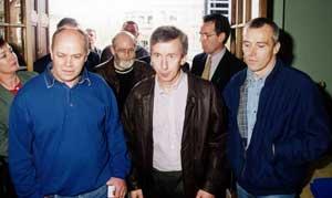 Eddie Butler, Hugh Doherty, Joe O'Connell and Harry Duggan arrive at the 1998 Sinn Féin Ard Fheis