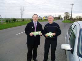 All-Ireland support: West Tyrone MLA Barry McElduff joins the election campaign in County Meath with local SF candidate for the Údaras elections, Seán MacDonncha