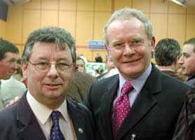 Joe Reilly with Martin McGuinness after the former's recent good showing in the Meath by-election