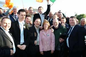 Sinn Féin's Gráinne Mhic Géidigh with jubilant supporters after her historic win