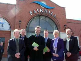 Gerry Adams with local election candidates outside Fairhill Shopping Centre in Ballymena