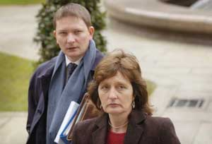 Geraldine Finucane, wife of murdered solicitor Pat Finucane with her son Michael