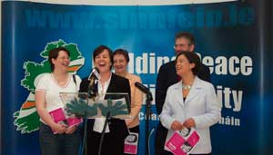 Michelle Gildernew, Caitríona Ruane, Bairbre de Brún, Mary Lou McDonald and Gerry Adams share a joke at the launch of the party's women's mini-manifesto