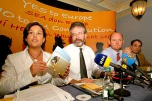 Mary Lou McDonald, Gerry Adams, Daithi Doolan and Aengus Ó Snodaigh at the Sinn Féin news conference