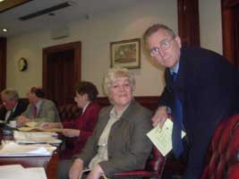 Monica Digney and Lisburn colleague Michael Ferguson in the Ballymena Council chamber