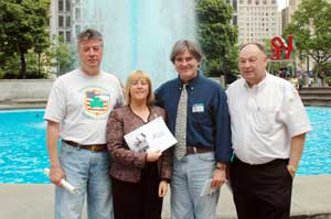 Rich Lawlor, New York Director, INA; Bernice Swift; Gerry Coleman, Political Education Officer, INA; and Paul Doris, Director of INA
