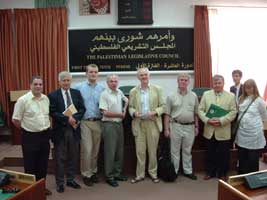 Aengus (left) and the other Irish parliamentarians at the Palestinian Legislative Council