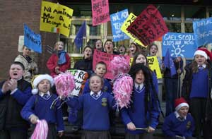 Gaelscoil pupils protest outside the EU offices in Dublin