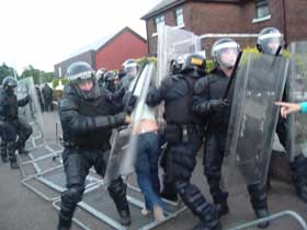 PSNI officers in riot gear attacked nationalist residents