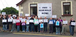 Protesters in Dunloy calling for the release of Seán Kelly