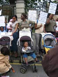 Nigerian women protest at the Dáil on Thursday 14 July where they delivered a letter to the Minister of Justice, Michael McDowell demanding an explanation of the government's deportation treaty with Nigeria.