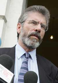 Gerry Adams MP speaks to the media