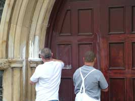 Ballymena's main catholic church, All Saints, was attacked with paint bombs