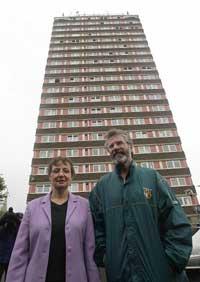 Gerry Adams MP and Bairbre de Brúin MEP at Davis watchtower
