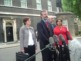 Sinn Féin delegation outside Downing Street