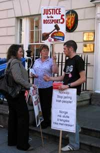 Protestors at the Norwegian embassy
