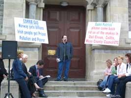 Cllr. Chris McManus Sinn Féin speaks at a rally in Sligo