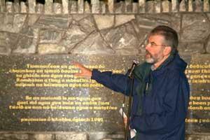 Gerry Adams unveils two memorial stones in Gulladuff