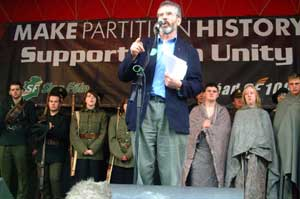 Gerry Adams MP addresses the crowd at the National Rally