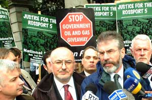 Gerry Adams MP at the Rossport 5 protest outside the Dáil as it reconvened yesterday