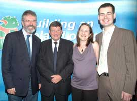 Gerry Adams and Pat Doherty with Pearse Doherty and his wife Evelyn