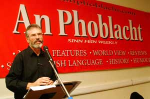 Gerry Adams speaking at the An Phoblacht relaunch