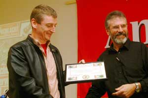 Brian Campbell received a presentation a week ago for his role as a former editor of An Phoblacht