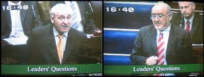 Bertie Ahern and Caoimhghín Ó Caoláin pictured in the Dáil