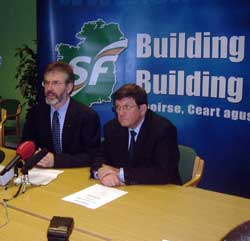 Gerry Adams addresses a press conference