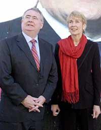Irish Labour Party leader Pat Rabbitte and TD Liz MacManus