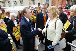 Michael Ferguson confronts British Education Minister Angela Smith