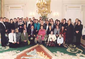 President Mary McAleese meets with parents and carers of children with autism and Sinn Féin Tyrone MLA Barry McElduff