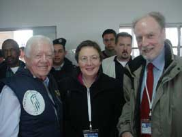 Bairbre de Brún is pictured with ex-US President Jimmy Carter (left) and European GUE/NGL President Francis Wurst