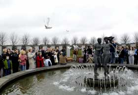 48 Doves are released at the Stardust Memorial after the 25th Anniversary Mass, Coolock, Dublin, in memory of all those killed and injured in the tragedy