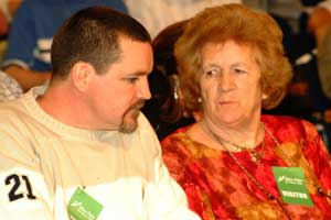 Niall Connolly at the Ard Fheis with his mother Madeleine