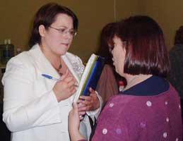 Fermanagh/South Tyrone MP, Michelle Gildernew talks to Sinn Féin Director of Publicity Dawn Doyle