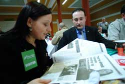 Joanne Delaney takes time-out from the Ard Fheis to read her interviewed in last week's An Phoblacht along with Dublin Sinn Féin Councillor Robbie Sergeant