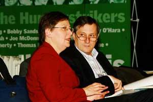 Sinn Féin MEP Bairbre de Brún speaking to Willy Meyer MEP, Left Unity, Spain