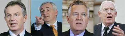 Tony Blair, Bertie Ahern, Peter Hain & Ian Paisley