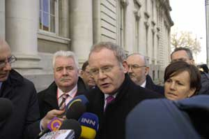 • The Sinn Féin delegation led by Martin McGuinness and Gerry Adams, head into Government Buildings for a meeting with Taoiseach Bertie Ahern