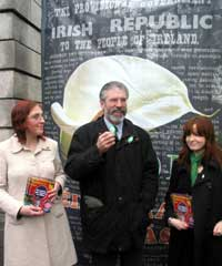 Gerry Adams launches Easter Lily campaign at St Stephen's Green, Dublin with Sorcha Nic Cormiac and Caoilfhionn Ni Dhonnabhain.