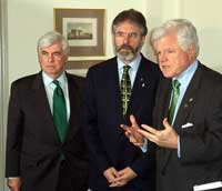 Gerry Adams with Senators Chriss Dodd and Ted Kennedy