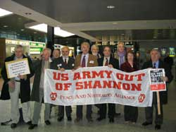 Sinn  Féin  International  Affairs  and  Human Rights spokesperson Aengus Ó Snodaigh and other TDs in Shannon Airport