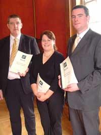 Sinn Féin MLA John O'Dowd, Michelle Gildernew and Stiofain Long at the launch