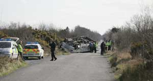 The school bus crash on the Bog Road outside Clara, County Offaly, in which one young pupil died