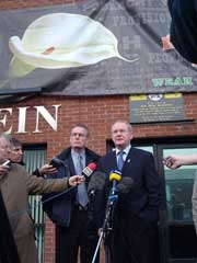 Martin McGuinness and Gerry Kelly, Falls Road, Sinn Féin Constituency Office,  outlining the party's position before the meeting with Tony Blair